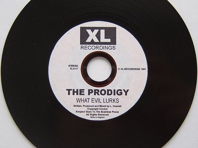 1991 - What Evil Lurks EP: The first release from unknown band The Prodigy, a three man electronic music act from Essex. Only 7000 copies were made of the 4 song EP.